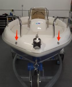 small boat with led marine nav light