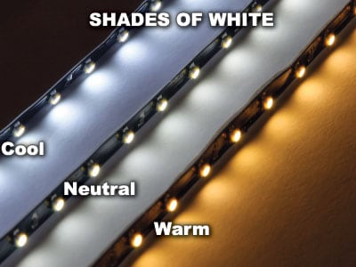 Ribbon LED Strips Shades of White Warm Cool Neutral