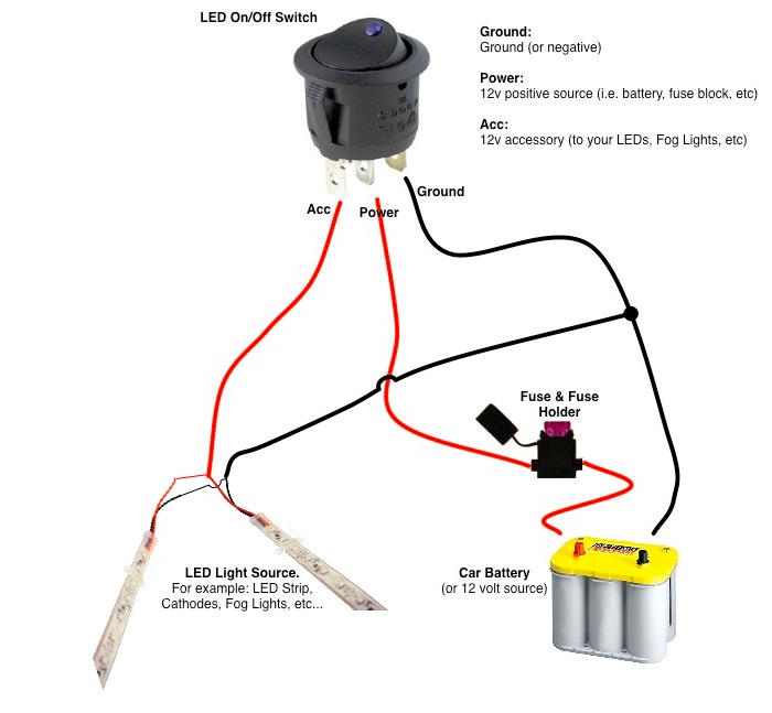 wiring diagram switch indicator the wiring diagram round rocker switch 12v led prewired in blue red green wiring