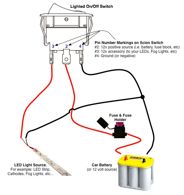 on off switch & led rocker switch wiring diagrams oznium forum Electric Brake Wire Diagram led light wire diagram 3 4 Wire Diagram for a String of Lights Wiring Turn Signal Lights and Running Lowe's Trailer Wiring Diagram